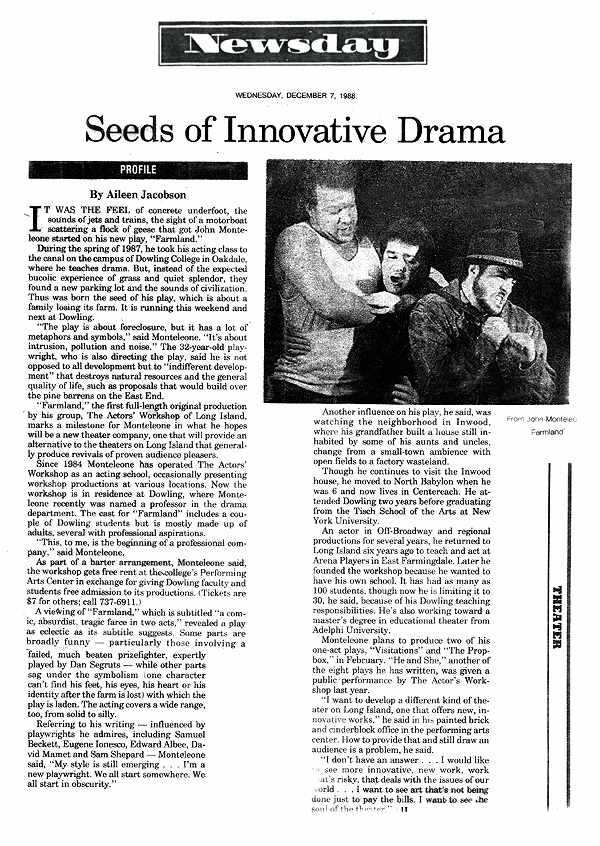 Seeds of Innovative Drama Article -Newsday 2