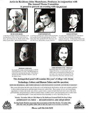 Bud Schulberg, Cliff Robertson & John Monteleone Symposium