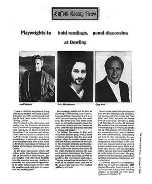 Gary Kott, Joe Pintauro & John Monteleone - Playreading Series
